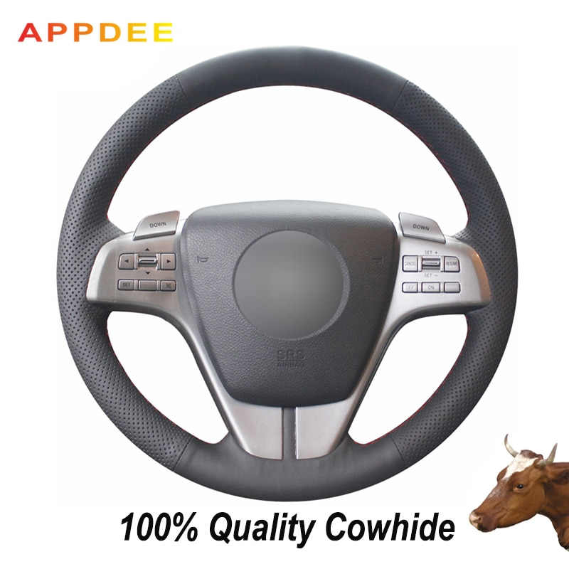 APPDEE Black Genuine Leather Car Steering Wheel Cover for Mazda 6 2009