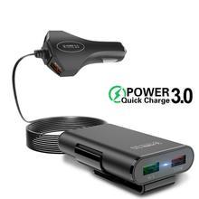 Smartphone 4 chargeur de voiture USB   Charge rapide, 3.0 Auto-Oplader, Met, 1.7M Kabel Voor tablette, Iphone 11X8 7 Qc 3.0