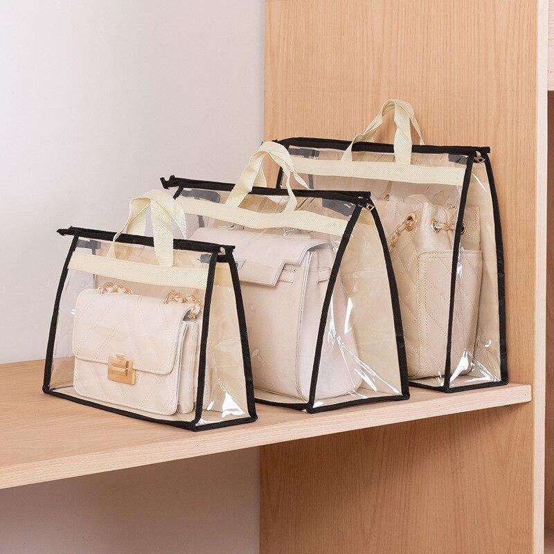 Protable claro bolsa feminina capa de poeira saco de armazenamento de artesanato com zíper para poeira à prova de umidade protetor organizador viagem