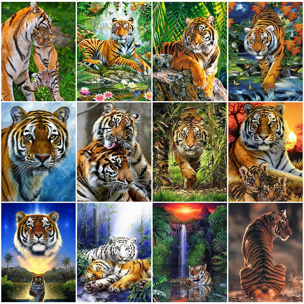 Recién llegado pintura diamante Tigre completo diamante redondo bosque animal mosaico pintura por números para papeles tapiz decoración del hogar
