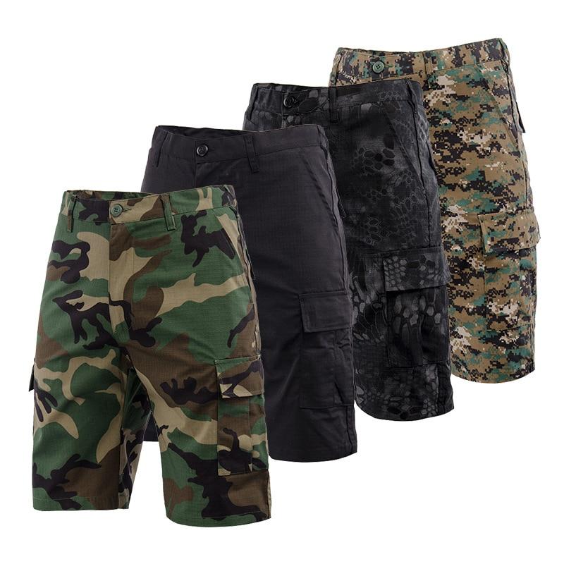 Мужские 2021 летние тактические военные шорты Rip-stop, мужские водонепроницаемые камуфляжные шорты-карго, повседневные свободные хлопковые кам...