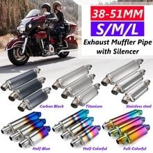 38-51mm de acero inoxidable, silenciador de escape Universal para motocicleta tubo para HONDA para Kawasaki para Suzuki S/M/L 175mm/235mm/300mm