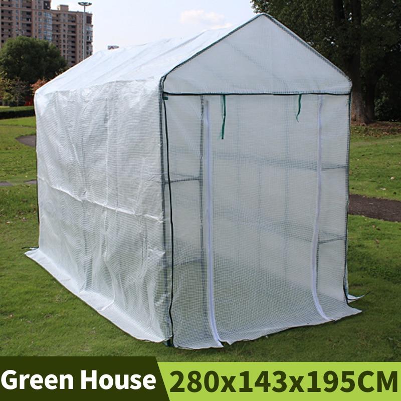tipo Walk-in Estufa Varanda ao ar Temperatura de Retenção Vegetais com Quadro Branco Planta Cobrir Jardim Duas Camadas Livre Galpões pe