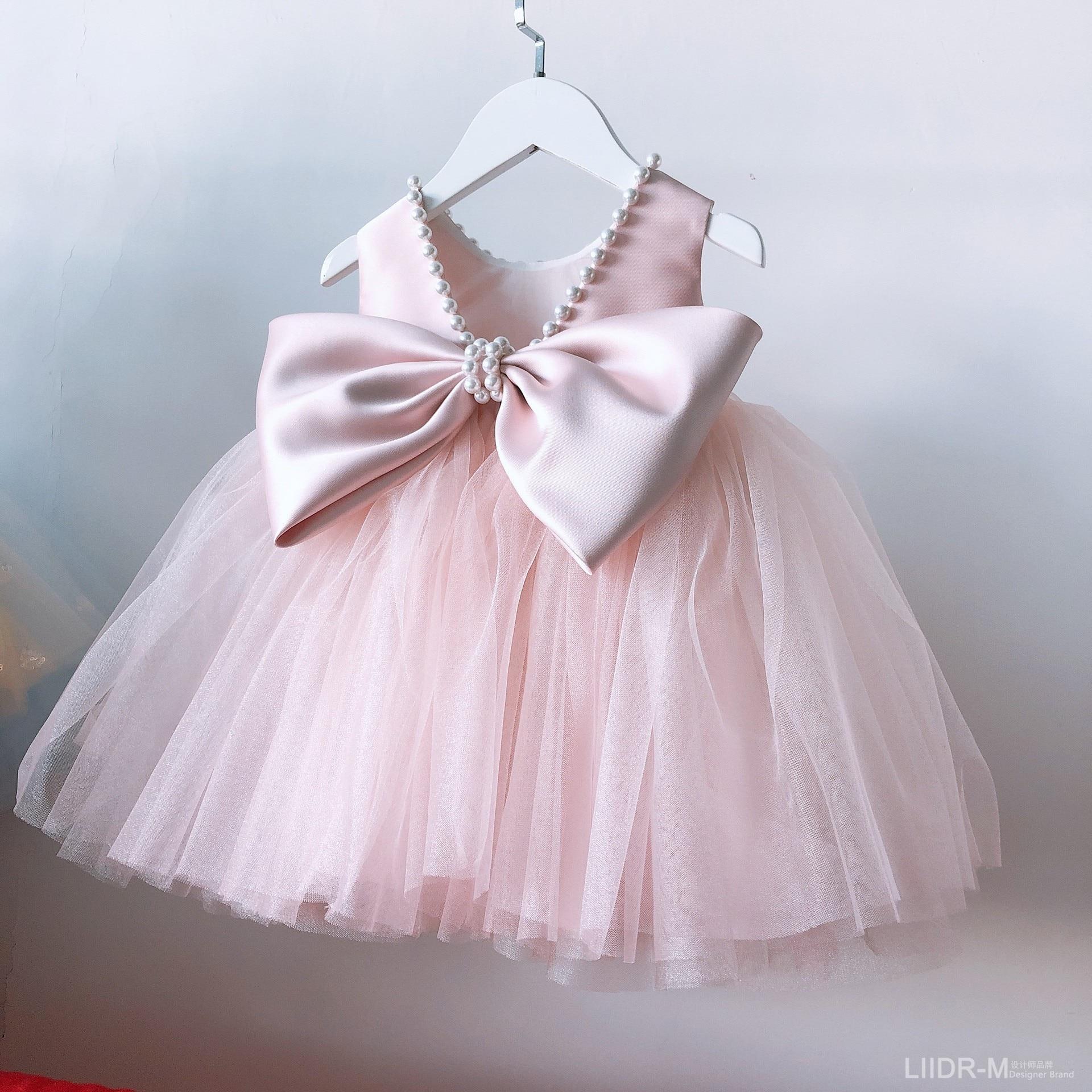 فستان أميرة لؤلؤي للبنات ، لحفلات أعياد الميلاد ، لوصيفات العروس ، حفلات التعميد ، للأطفال