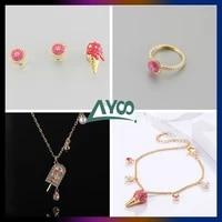 swa fashion jewelry new fashion cute exquisite ice cream cone irregular fashion earrings necklace bracelet set romantic gift