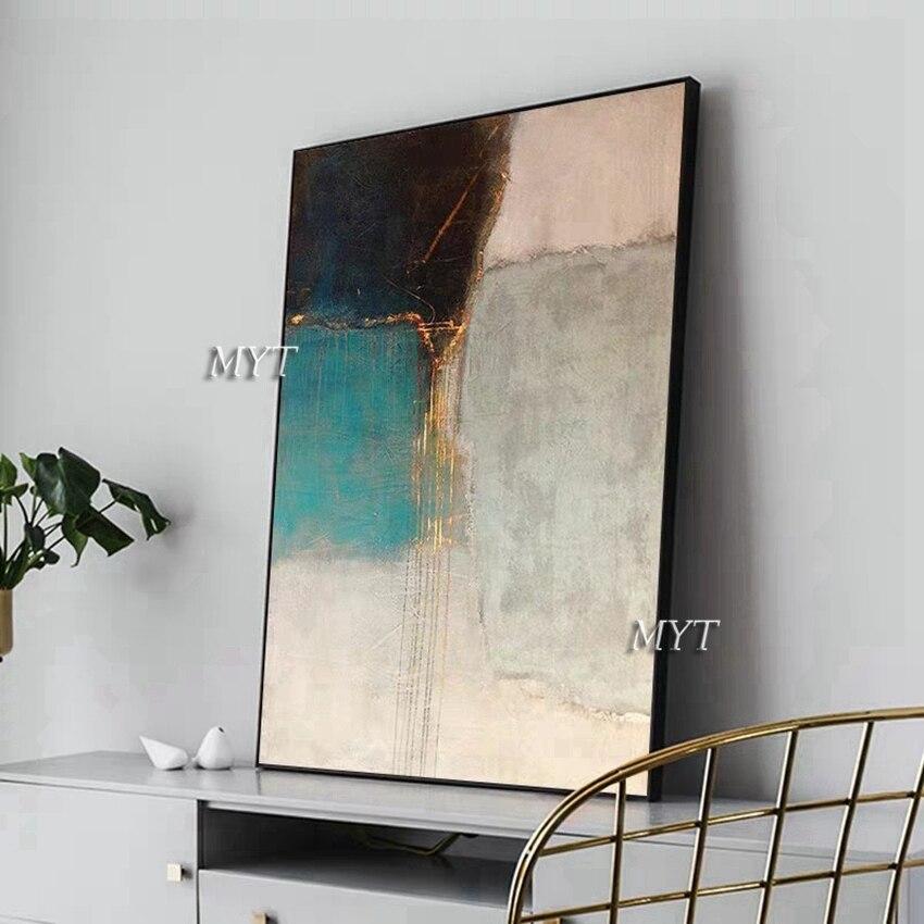 Pintados à mão preto e branco abstrato linhas de ouro pintura a óleo da parede lona arte fina moderna unframe arte para sala estar decoração