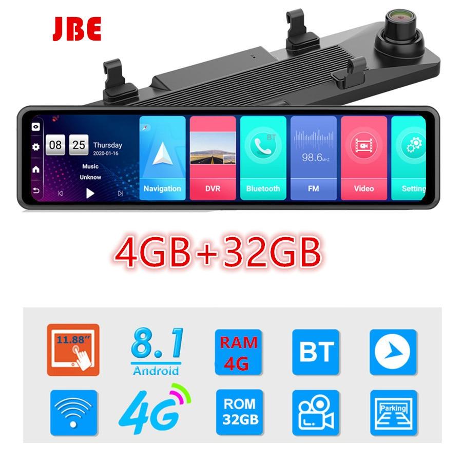 جهاز مراقبة فيديو Dvr للسيارة ، مرآة سيارة 12 بوصة ، Android 8.1 ، 1080P ، كاميرا مزدوجة ، Wifi ، نظام تحديد المواقع العالمي للملاحة ، ADAS ، جهاز تحكم عن بعد
