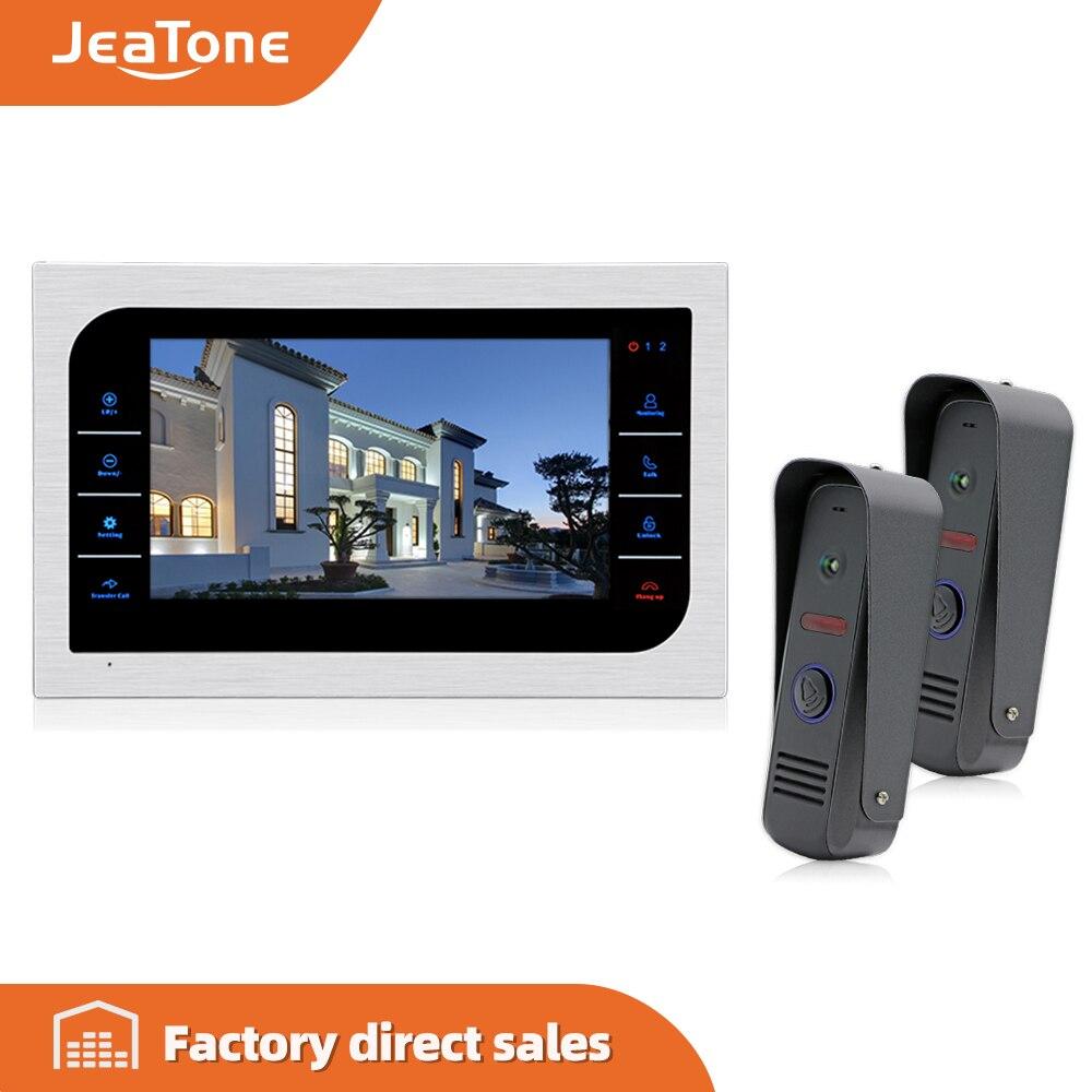JeaTone 10'' Video Intercom + 2* IR Night Vision Door Cameras 1200TVL Waterproof Remote Control Doorbell Camera Doorphone System