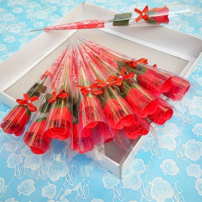 واحد الجذعية الصابون الزهور بوكيه ورد صناعي المعطرة حمام الصابون لحفل الزفاف عيد الحب عيد الأم المعلم يوم ديكور هدية