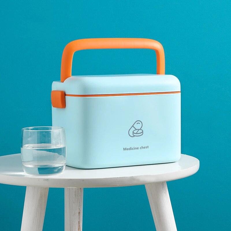 صندوق دواء عائلي محمول جميل وجميل عالي السعة صندوق أدوات طبية صندوق تخزين مستلزمات طبية طبقة مزدوجة خزانة دواء