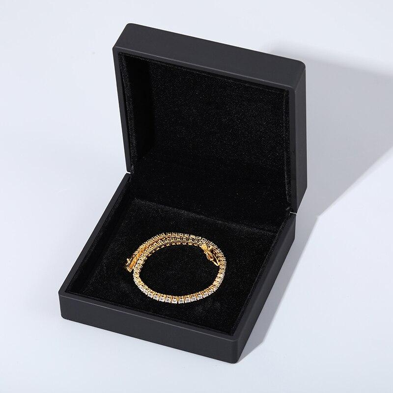 3mm-5mm Mens/Women 925 Sterling Silver Moissanite Tennis Chain Bracelets Hip Hop Jewelry