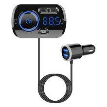 Cargador de coche inalámbrico USB QC3.0 carga rápida coche Bluetooth 4,2 manos libres altavoz FM Transmisor LCD reproductor MP3 producto automático