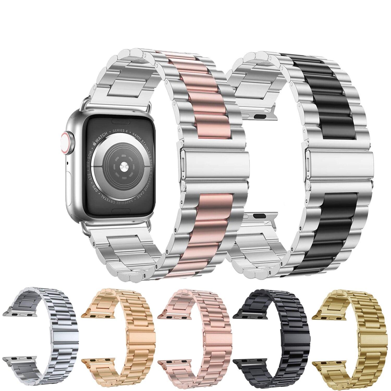 Pulseira de aço inoxidável para apple watch band 42mm 38mm 1/2/3/4 pulseira de metal para iwatch series 4 5 44mm 40mm