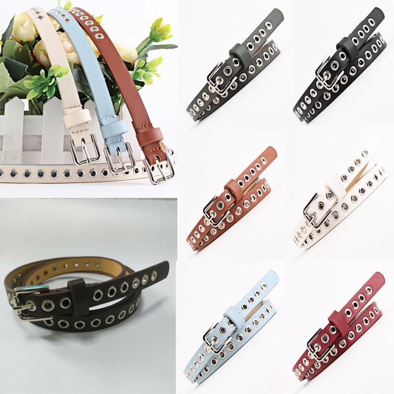 Cinturón para mujer, remaches huecos, correa de cuero PU, cintura delgada, cinturón de moda femenina, cinturón de color sólido, accesorios de ropa