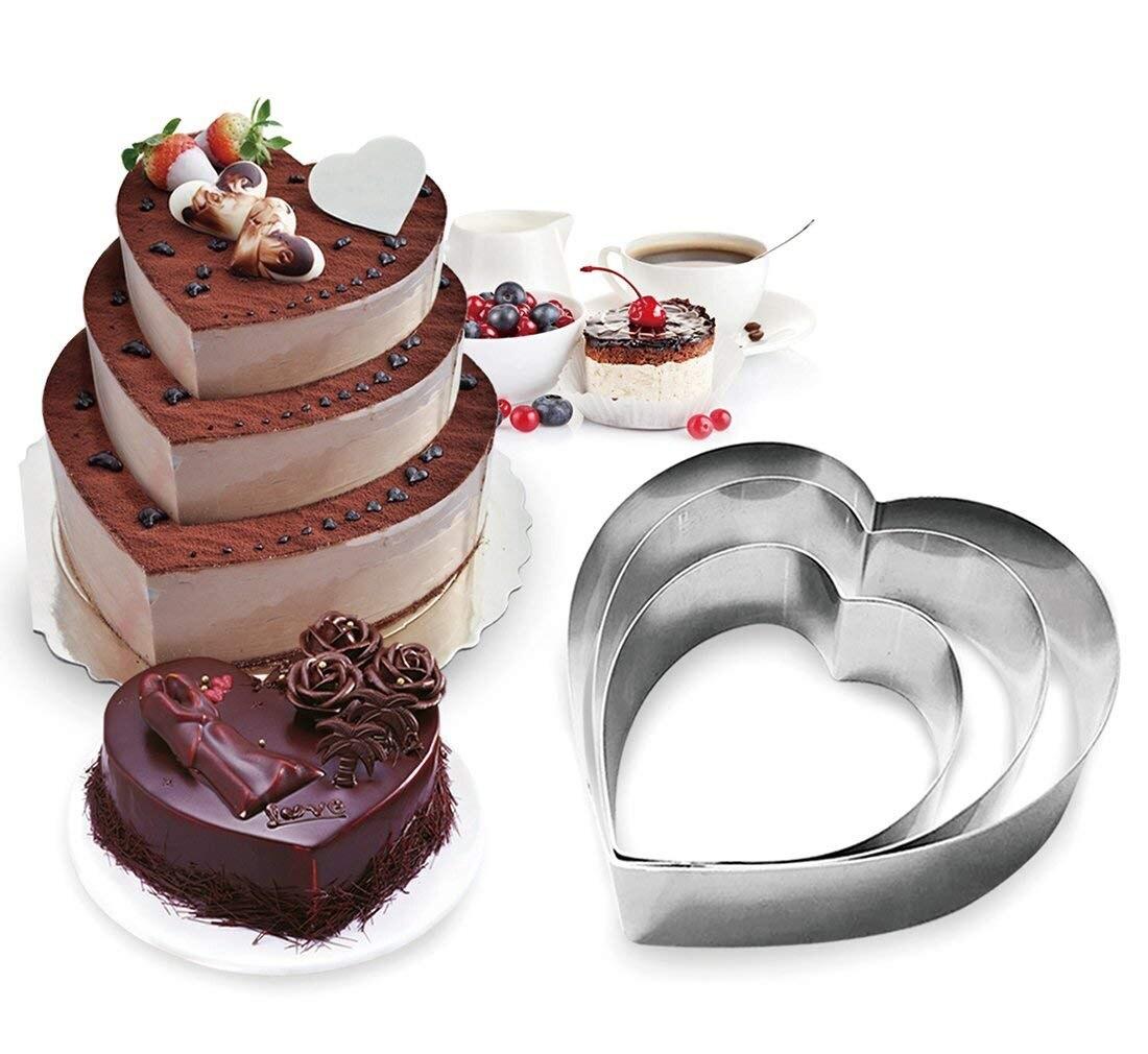 """3 pces cortadores de biscoito do dia dos namorados coração quadrado circular 3 tamanho 6 """"8"""" 10 """"cortador de biscoito para assar e decorar o grande bolo"""