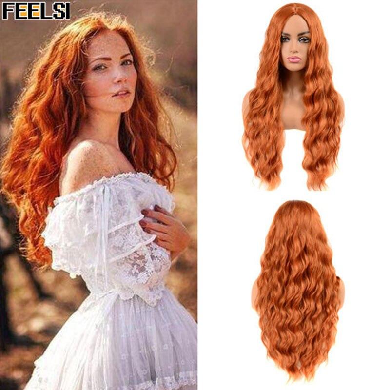 FEELSI, Rojo puro, Color negro, naranja, pelucas largas con ondas de agua para mujeres, pelo sintético, fibra de alta temperatura, tamaño medio