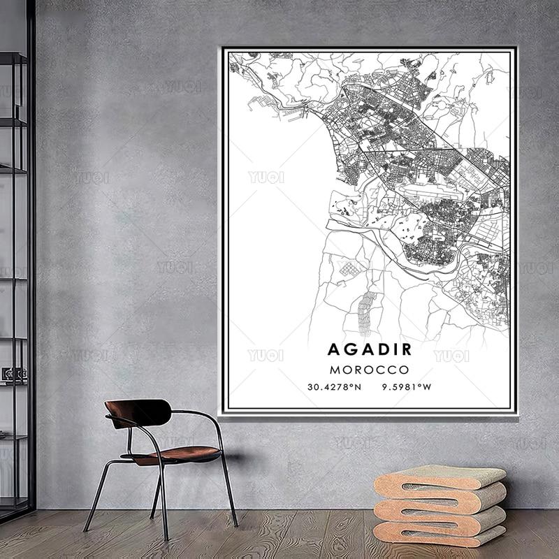 Mapa de ciudades del mundo en blanco y negro, póster de Bangkok,...