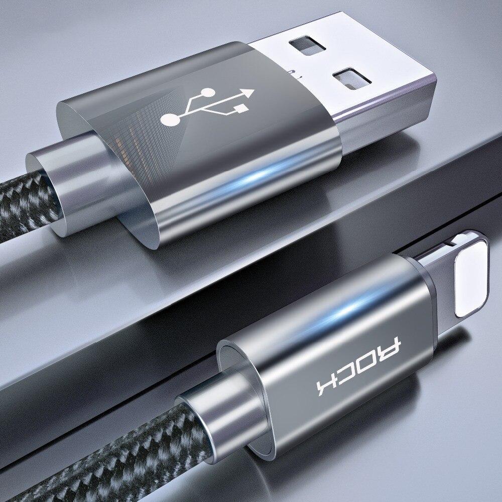 ROCK 1 м кабель для iPhone 3.1A быстрое зарядное устройство Освещение USB зарядный кабель для iPhone XR 11X8 7 6 Pro Max Plus iPad быстрое зарядное устройство