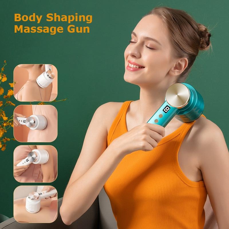 VOCCVIEN Newest Massage Fascia Gun Body Shaping Massager Deep Tissue Muscle Pain Relief Back Neck Relaxation 9 Level Gears
