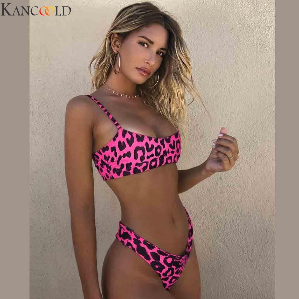 KANCOOLD Bikini traje de baño de mujer traje de baño de leopardo brasileño conjunto de Bikini Push Up traje de baño de verano femenino ropa de playa Biquini