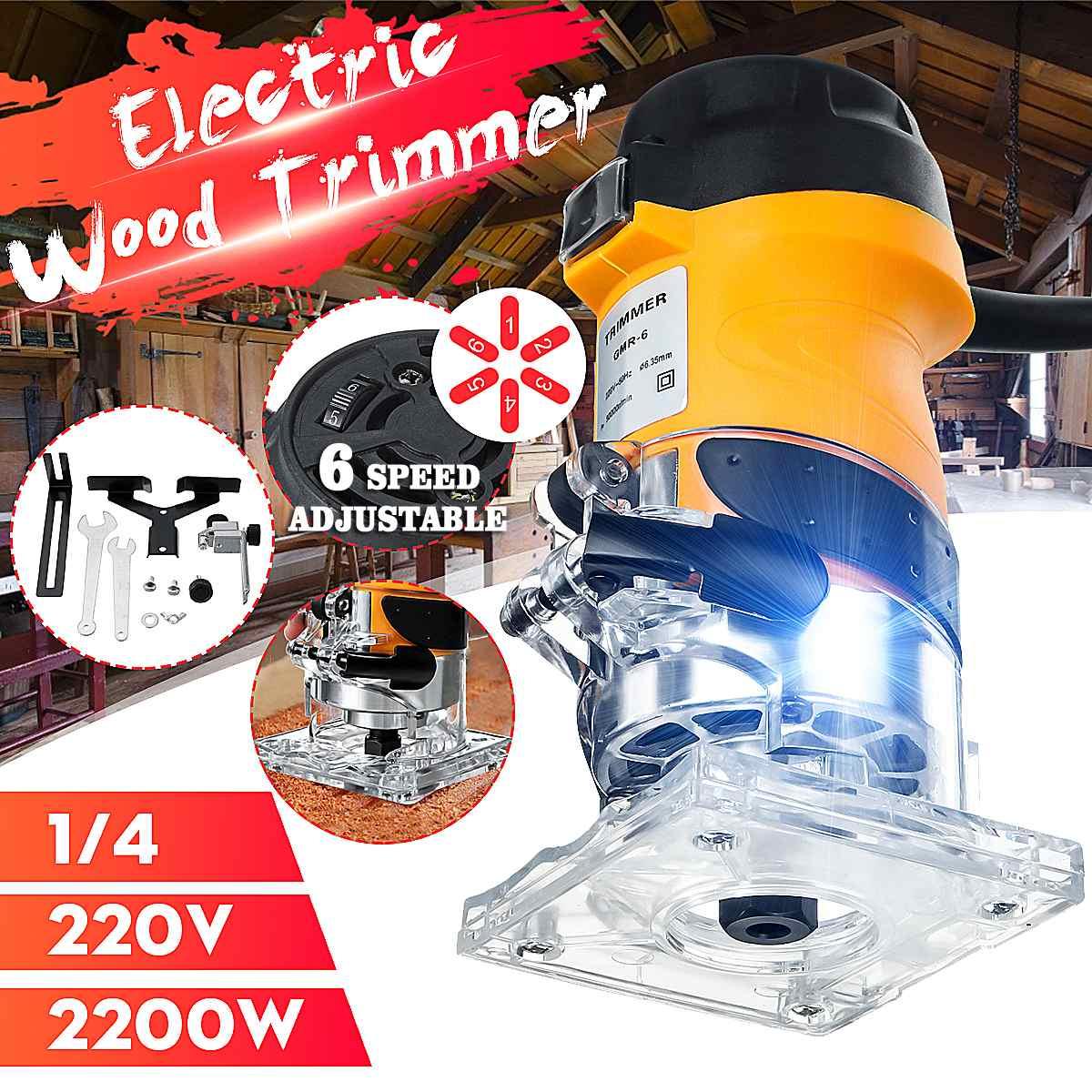 DOERSUPP 2200 واط 33000r/دقيقة 6 سرعات الخشب الكهربائية المتقلب النجارة مطاحن خشب اليد الكهربائية الانتهازي الخشب تغليف راوتر