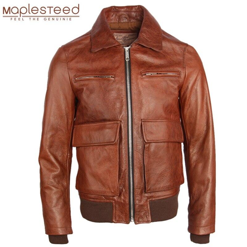 Chaqueta de cuero para hombre gruesa 100% piel de vacuno Natural chaqueta de piel de Bombardero Marrón abrigo de invierno para hombre ropa de abrigo otoño M260