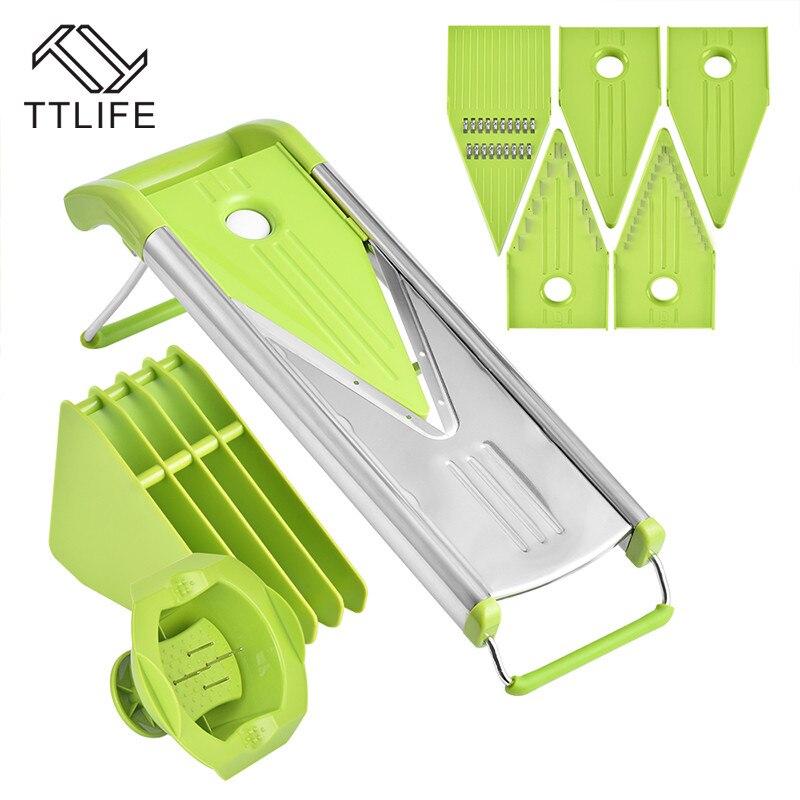 TTLIFE 2018 nuevo cortador de mandolina rallador de vegetales zanahoria cortador de cebolla con 5 cuchillas accesorios de cocina