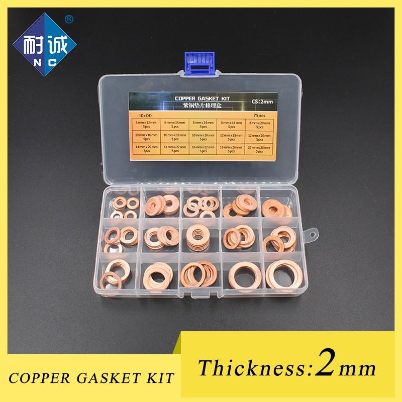 Espesor 2mm 5 piezas DIN7603 M6 M8 M10 M12 M14 M16 M18 M20 T3 O anillo de junta de caja de reparación de lavadora de cobre