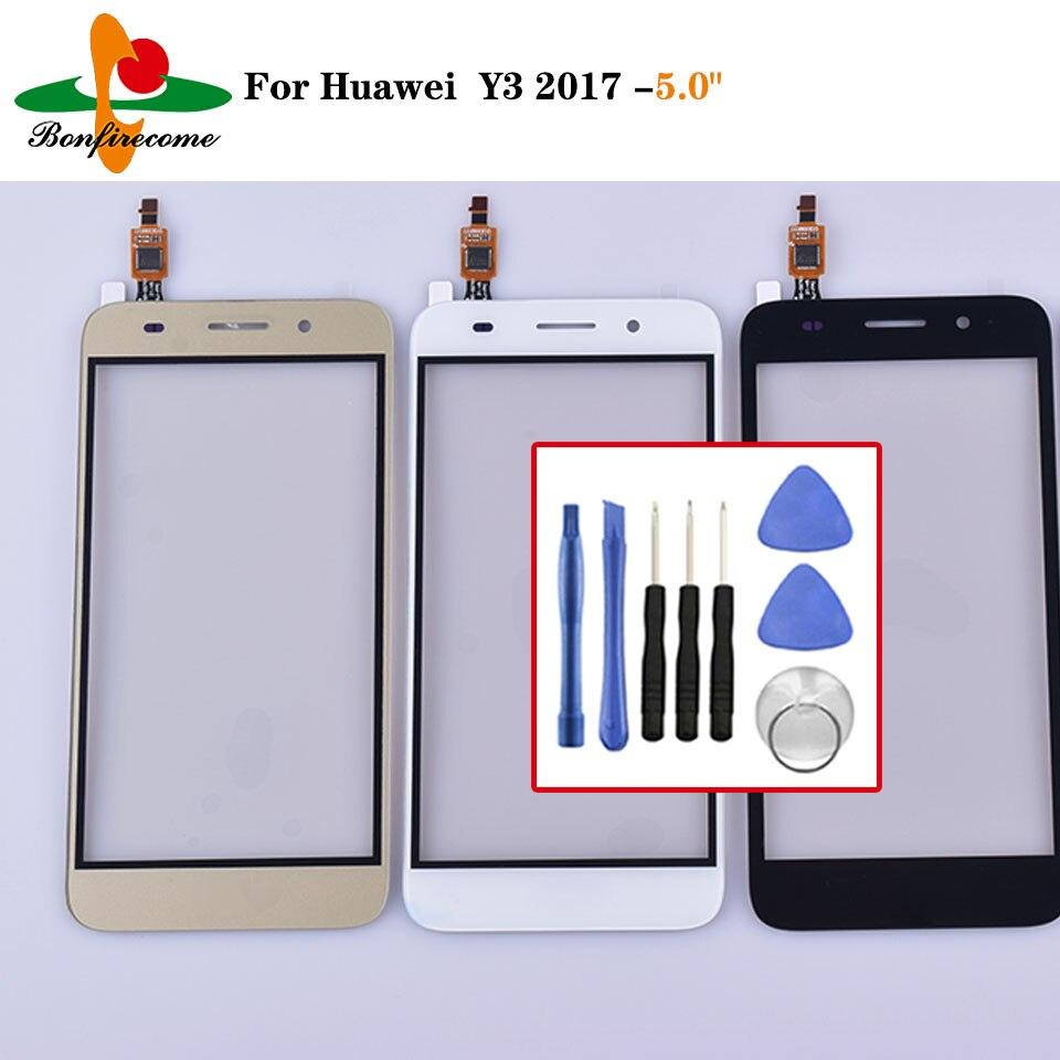 Dla Huawei Y3 2017 CRO-L02 CRO-L22 CRO-L03 CRO-L23 ekran dotykowy szklany Panel Digitizer czujnik