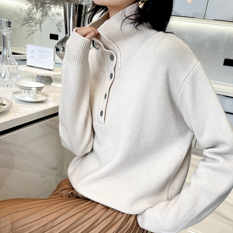 Women Knitwears 100% Pure Wool Knitted Pullovers LOOSE Turtleneck 6Colors Jumpers Female Winter Warm Thick Sweaters Clothes