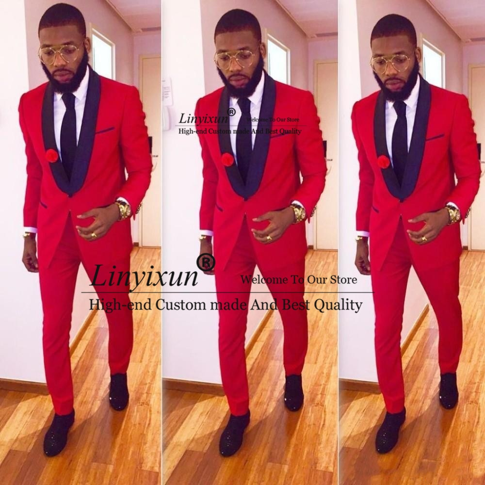 High Quality One Button Red Groom Tuxedos Groomsmen Shawl Lapel Best Man Blazer Mens Wedding Suits (Jacket+Pants+Tie)