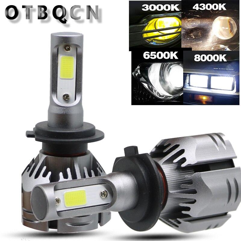 OTBQCN Car Headlight H4 H7 LED Bulb H11 4300K 3000K 8000K 6500K H27 880 H1 H3 9005 9006 10000LM 12V Auto Headlamp Fog Light Lamp