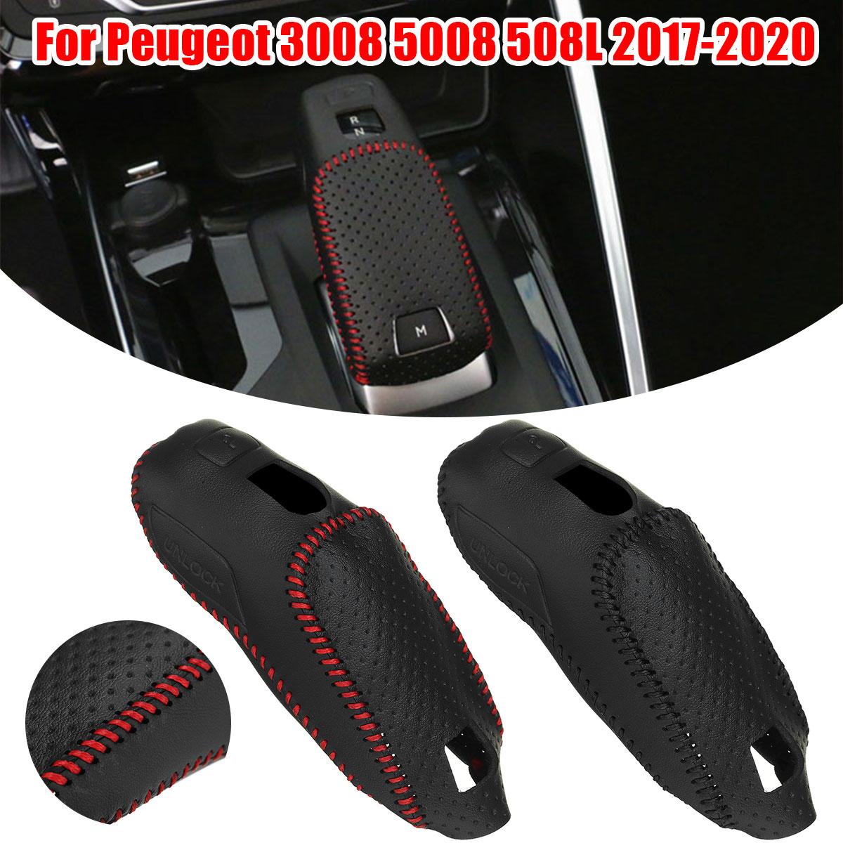 Car Gear Shift Knob Cover Trim Auto Shifter Lever Stick Cover Protector For Peugeot 3008 5008 508L 2017 2018 2019 2020