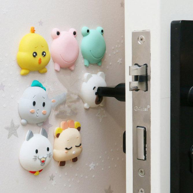 Bonito tapón de puerta de silicona de dibujos animados cuña antideslizante receptor bloque tapón de puerta animal amortiguadores cuidado de niños recién nacidos