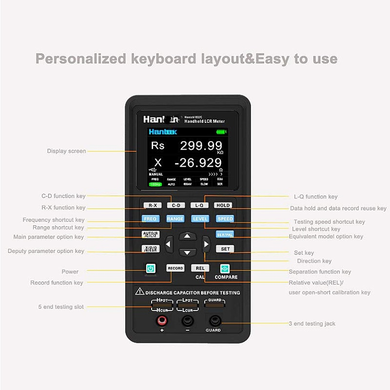 Hantek Digital Oscilloscope Handheld LCR Meter Hantek 1832C /1833C Portable Inductance Capacitance Resistance Tester 2.8