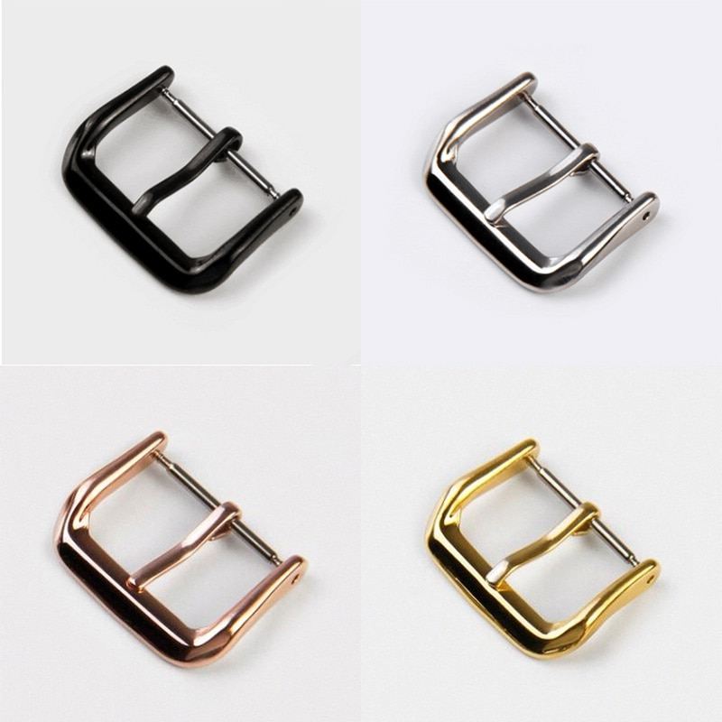 14mm 16mm 18mm 20mm 22mm 24mm black silver gold rose gold stainless steel metal strap bracelets watch band fast delivery new Stainless Steel Watch Buckle 16mm 18mm 20mm 22mm Metal Silver Gold Black Watchbands Strap Clasp Watch Accessory