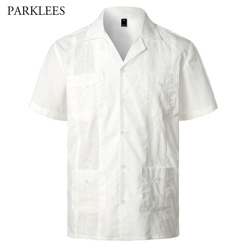 Guayabera-قميص أبيض قصير الأكمام للرجال ، ملابس غير رسمية مع زر لأسفل ، تطريز ، لون عادي ناعم ، ياقة تردد