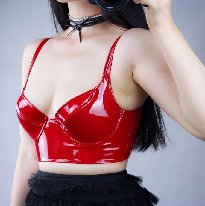 حمالة صدر من الجلد الصناعي للنساء ، ملابس داخلية مثيرة ، جلد براءات الاختراع ، R2134