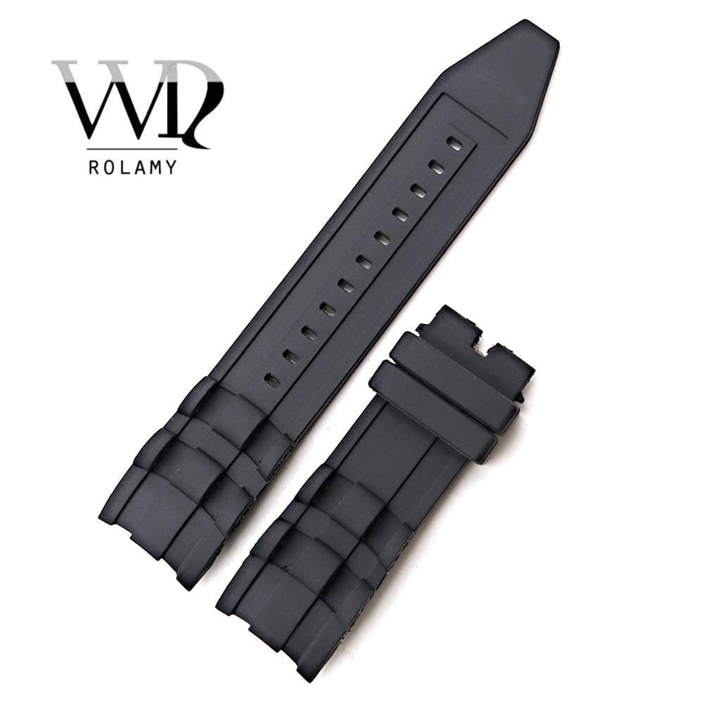 Rolamy 26mm Schwarz Wasserdicht Silikon Gummi Ersatz Uhr Band Gurtband Für Invicta Pro Diver 6986-6991-6996-17566
