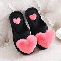 winter warm slippers women shoes woman cute love heart plush slippers home slippers indoor slipper faux fur slides house slipper