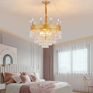 Modern LED Crystal Pendant Lights Creative Crystal Crown Pendant Lamp Living Room Art Deco Light Fixture Golden Children's Light