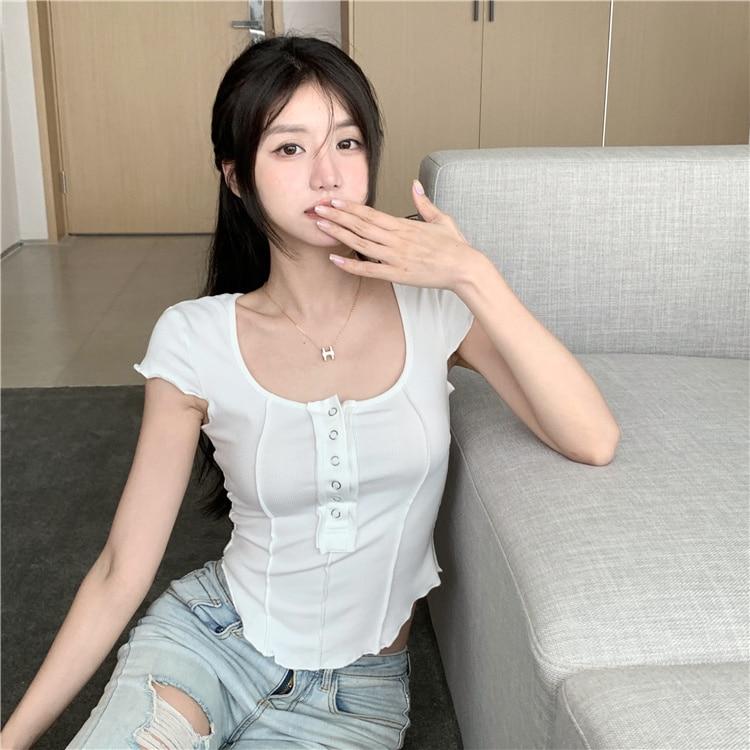 Stitching Design Short Half Sleeve T-shirt Top Female Korean Ins Hot Sale