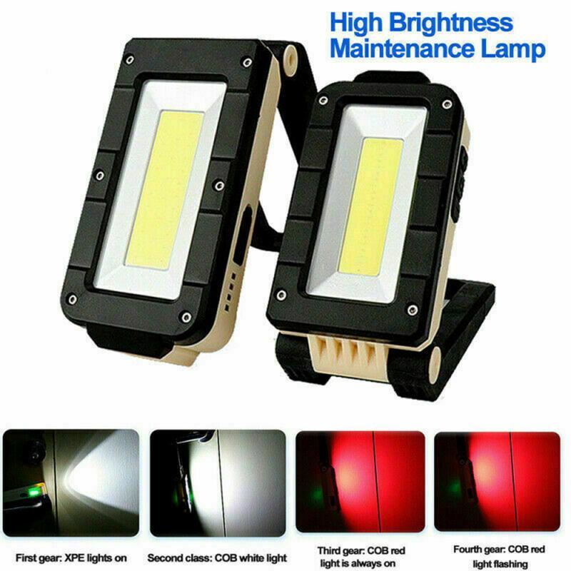 3 en 1 recargable magnético LED COB luz de trabajo de Camping Luz de inspección luz 4 modos antorcha plegable linterna LED batería de 18650