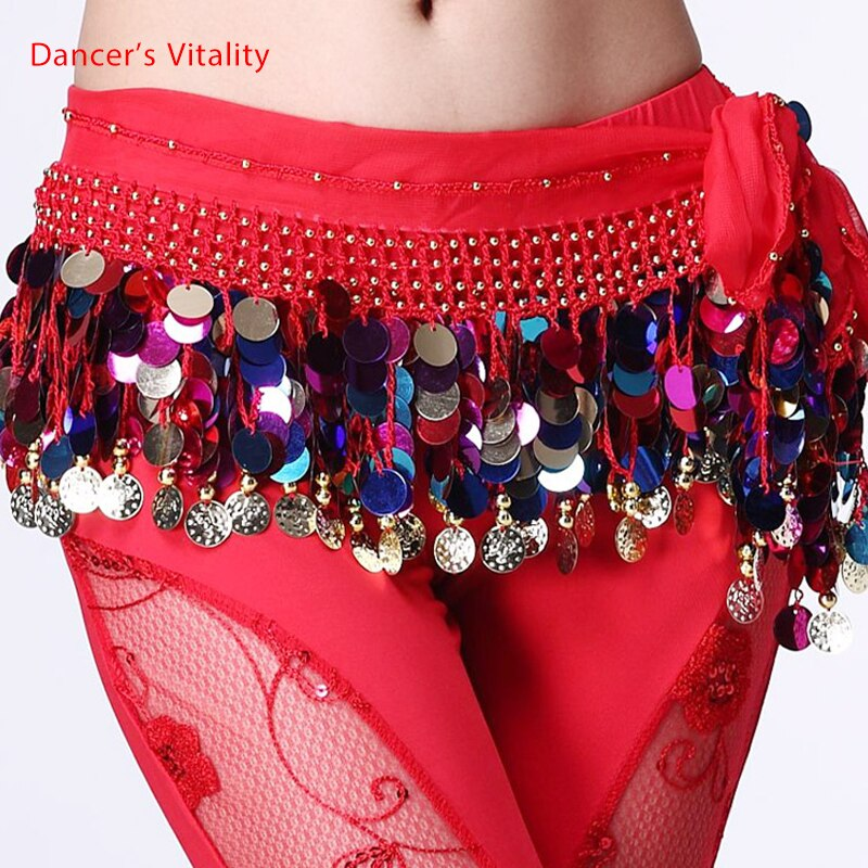 Belly dance belt costumes sequins tassel belly dance hip scarf for women belly dancing belts indain colors belt