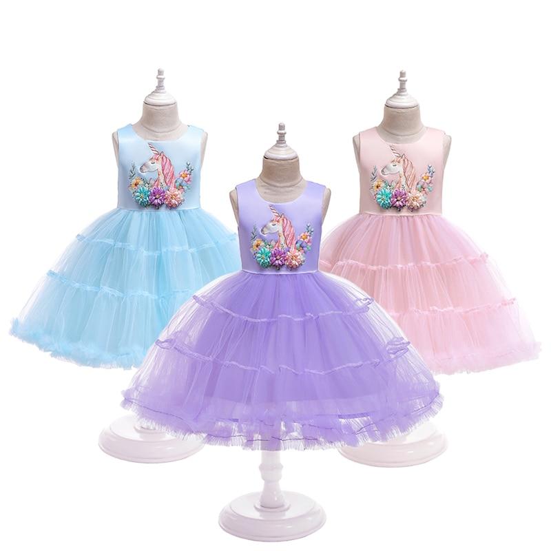 3 Color Cute Cartoon Unicorn Girls Princess Dress Summer Mesh Casual Unicorn Cake Girls Dress Festival Fantasy Baby Girl Dresses
