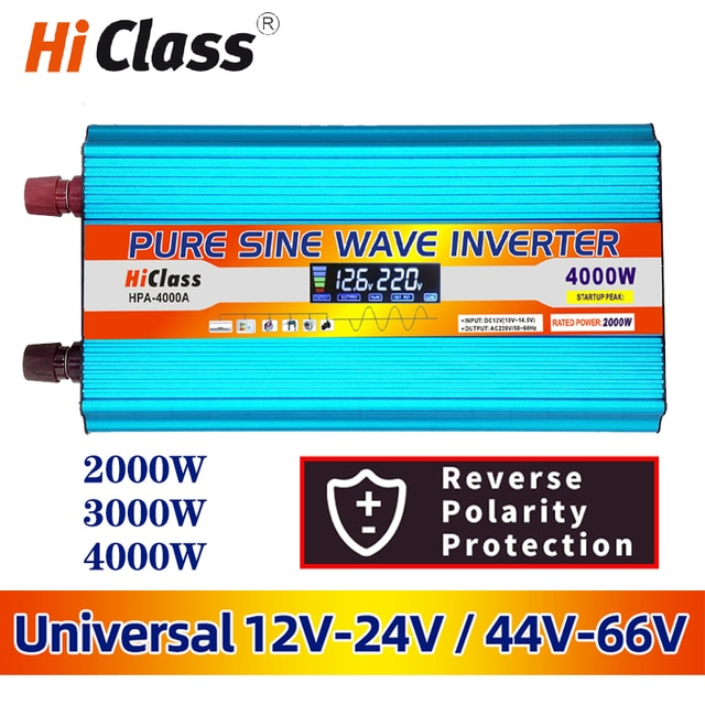 Solar inverter 12v 220v 12V/24V Pure sine wave inverter 2000W/3000W/4000W/6000W Dc 12v to Ac 220v Car converter LCD Display