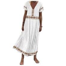 2021 New Women's V-Neck Pullover Short-Sleeved Printed Mid-Length Dress Women  Elegant Lady Beach Es