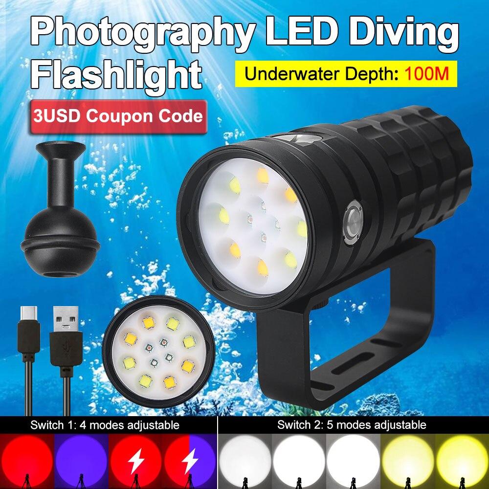 25000lm xhp50 mergulho lanterna 4 cores subaquatica 100m fotografia led luz