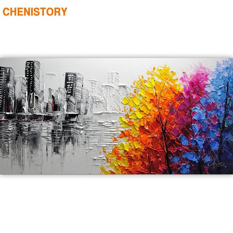 CHENISTORY Frame Abstract Picture DIY Painting By Numbers Acrylic Paint On Canvas Handpainted Oil Painitng For Living Room Arts