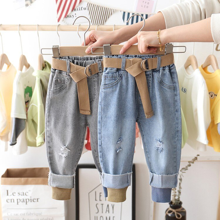 Boys Jeans Pants Spring Denim Kids Clothing Children Casual Trousers For Ripped Belt Threaded